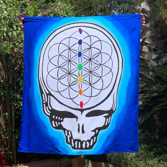 Image of Flower of Life Stealie Tapestry or Flag