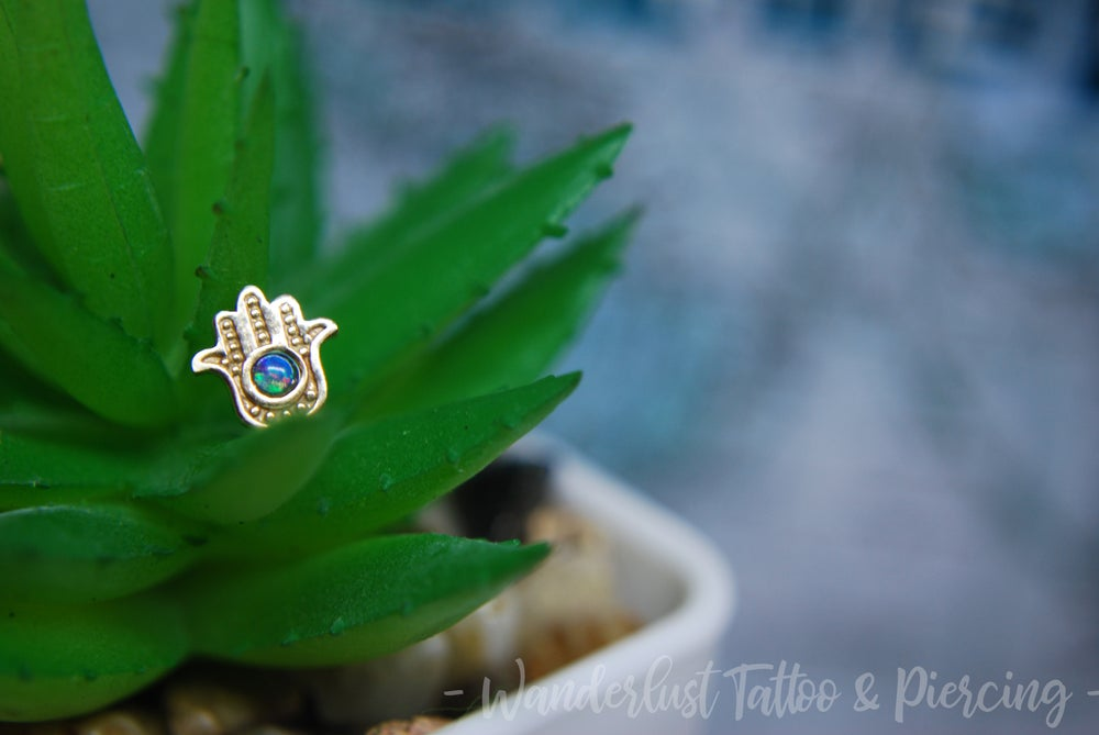 Image of Invictus 14Kt Gold Threadless Hamsa with Blue Opal