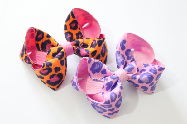 Image of Bright leopard print large boutique bows