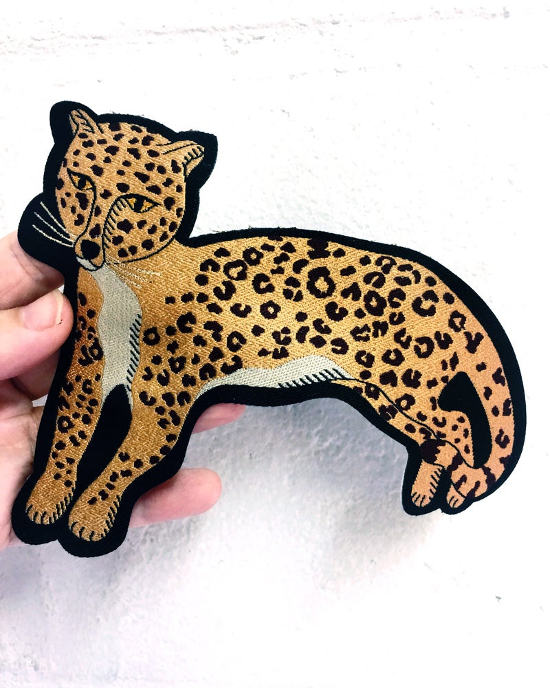 Image of Reclining Leopard Iron on Patch