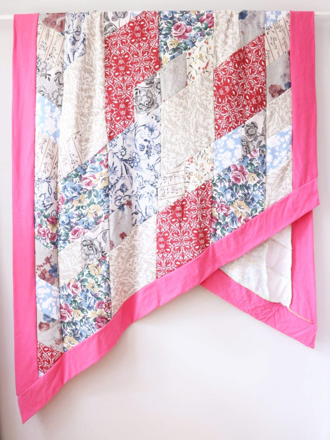 Image of superfloral rhombus patchwork floral knit upcycled courtneycourtney diamond pink blanket throw