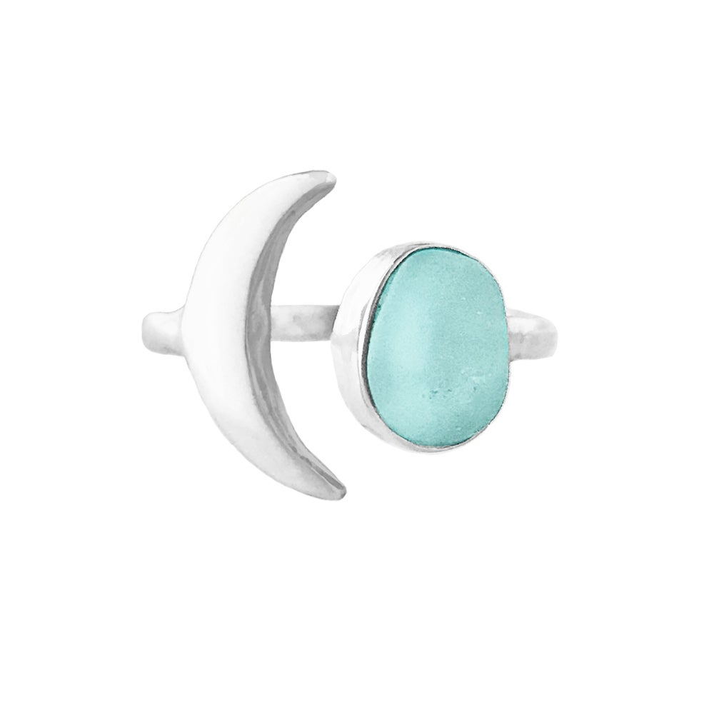 Image of Crescent Moon Sea Glass Ring - Aqua