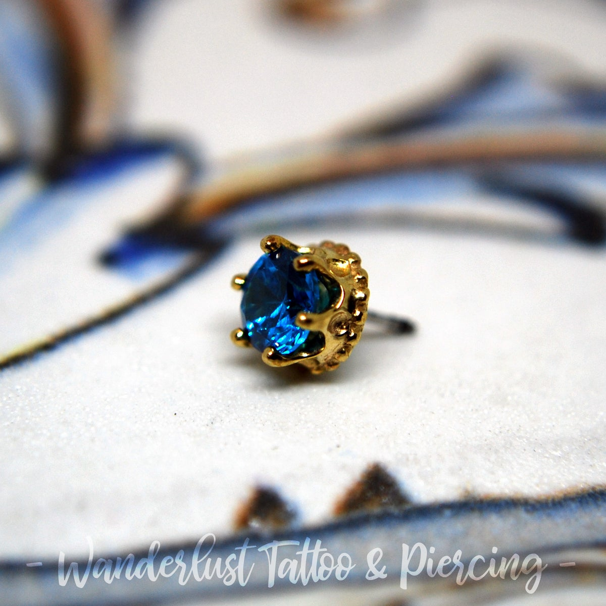Image of Invictus 14k Yellow Gold Threadless Crown Set CZ Gem