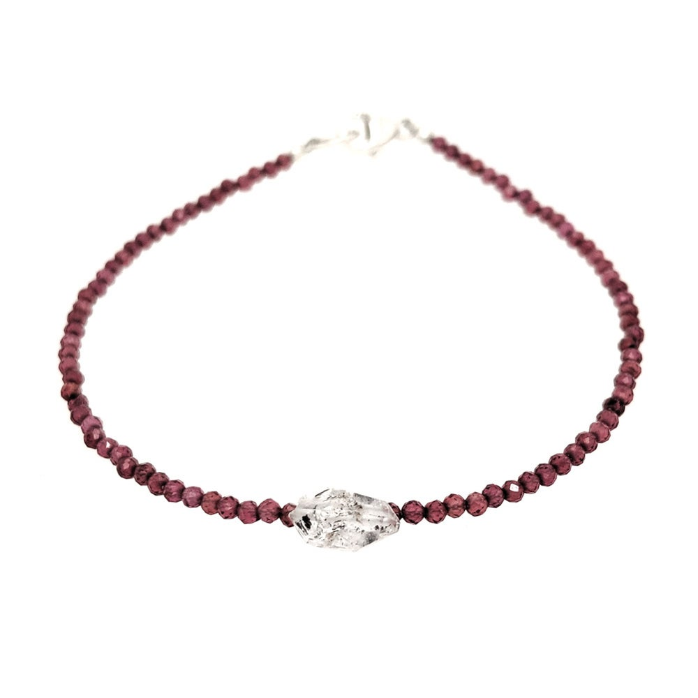 Image of Wanaka Bracelet - Herkimer Diamond and Garnet