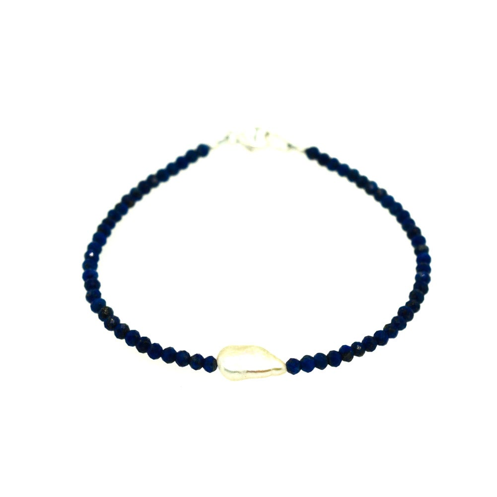 Image of Firenze Bracelet - Lapis Lazuli Cultured Freshwater Pearl