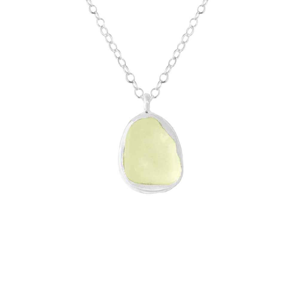 Image of Mermaid Scale Sea Glass Necklace - Lime