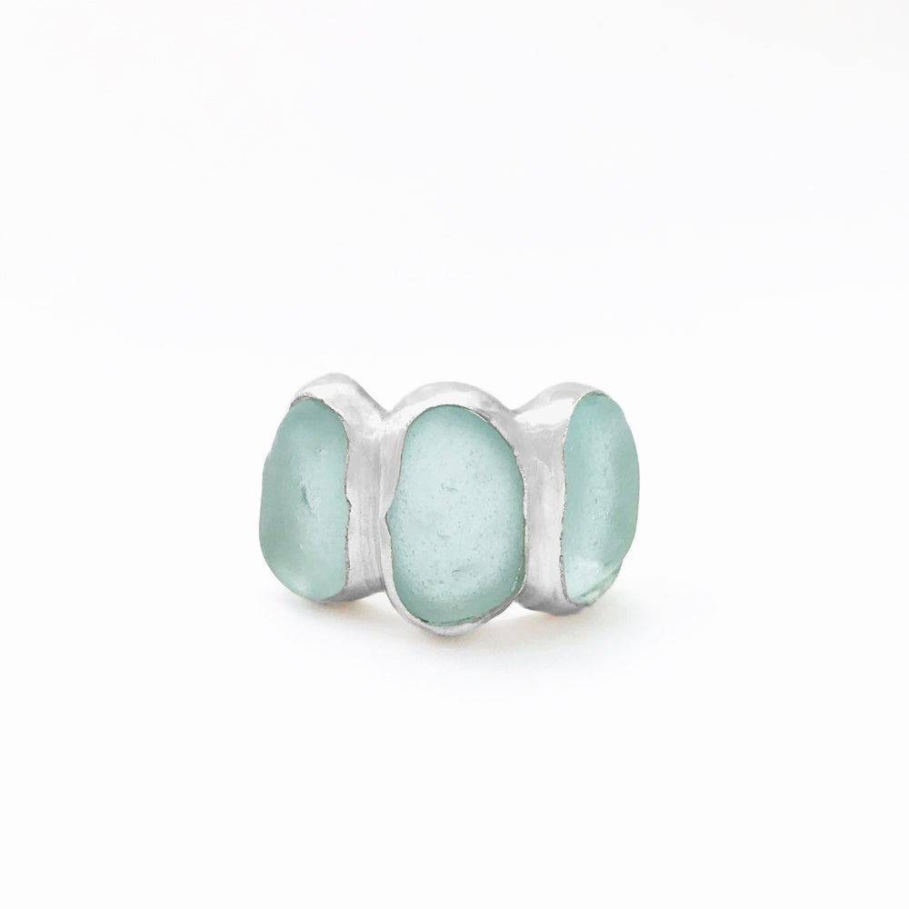 Image of Three Oceans Ring - Aqua Sea Glass