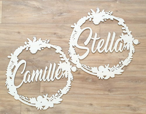 Image of Personalised Floral Name Wreath