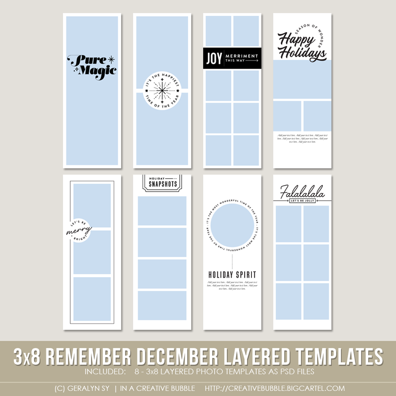 Image of 3x8 Remember December Layered Photo Templates (Digital)
