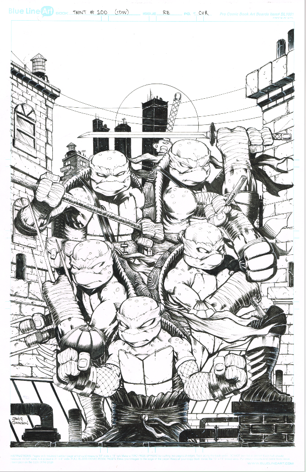 Image of IDW TMNT #100 Fats Comics RE cover ORIGINAL INKS plus extras