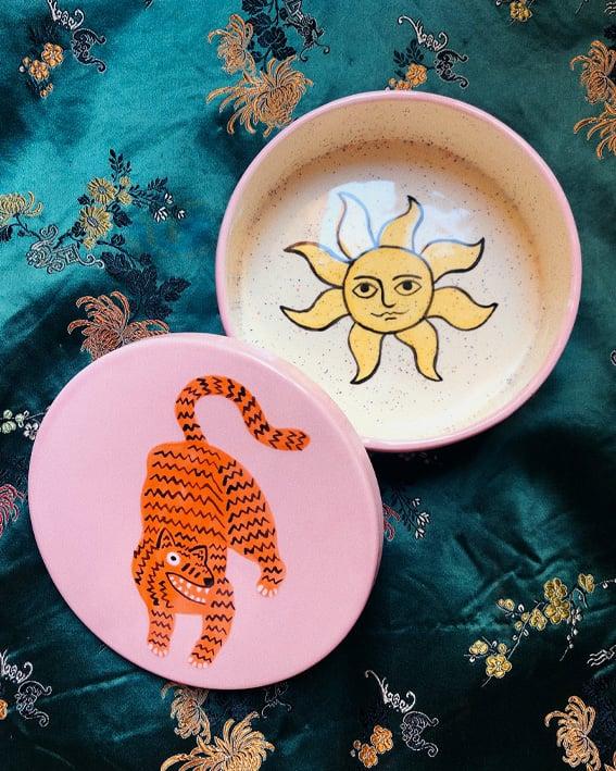 Image of Tiger & sun ceramic box
