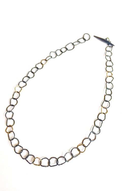 Image of Afiok necklace single length in oxidised silver with 9ct yellow gold