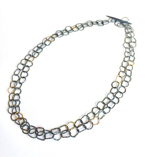 Image of Afiok necklace double length in oxidised sterling silver with 9ct yellow gold