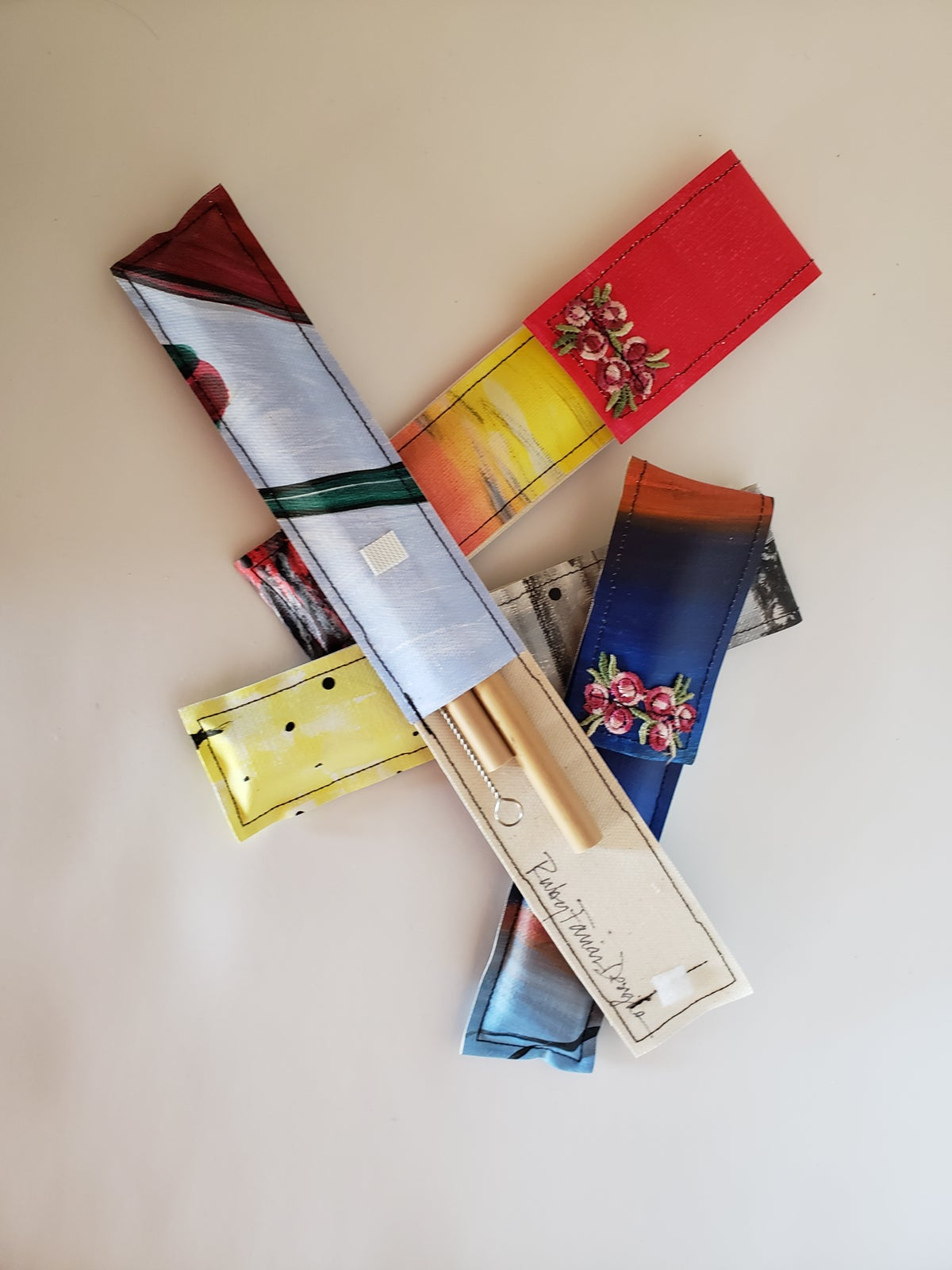 Image of Upcycled Canvas Case with 2 Bamboo Straws and Cleaner