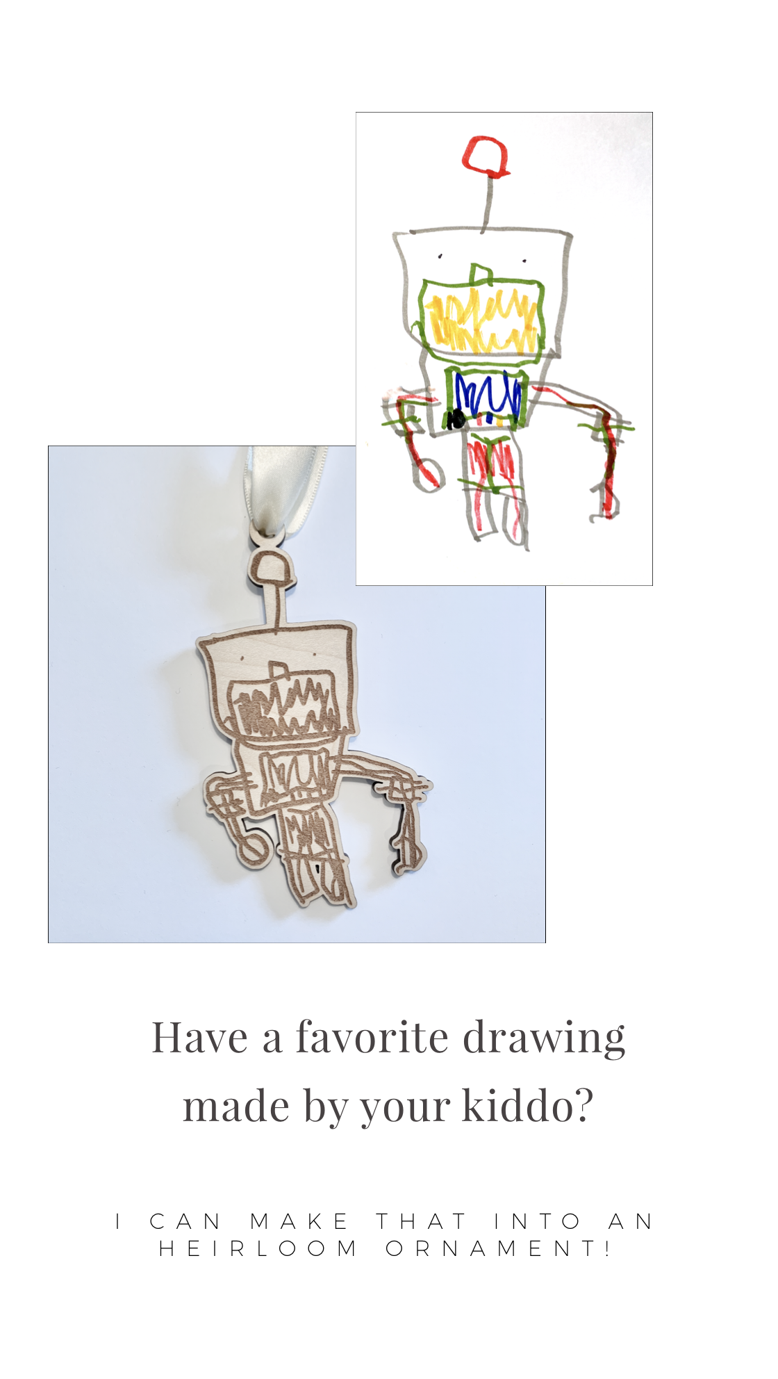 Image of Custom Doodle Ornament (Featuring Any Of Your Child's Drawings)
