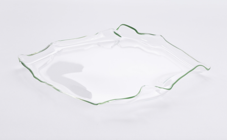 Image of Glass Platter with Green Edge I