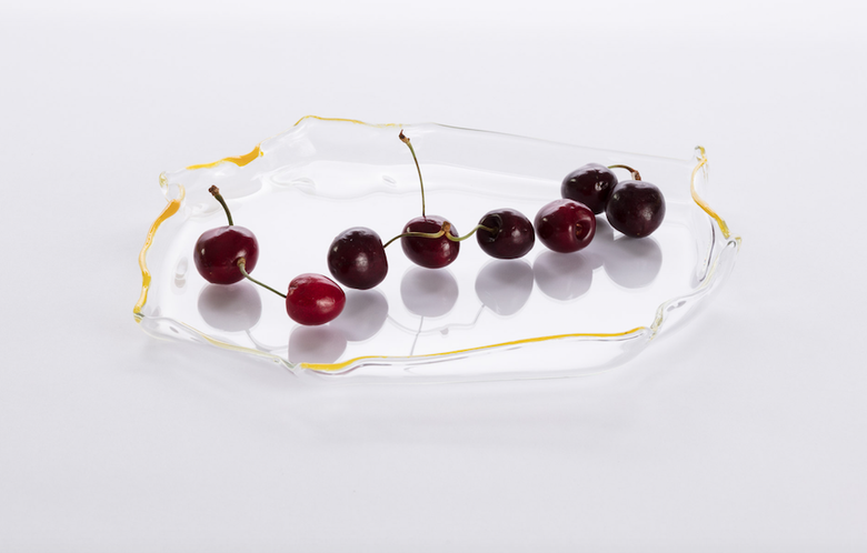 Image of Glass Platter with Yellow Edge