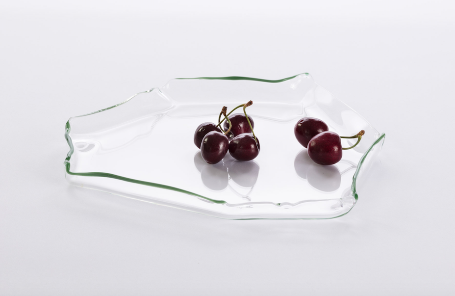 Image of Glass Platter with Green Edge II