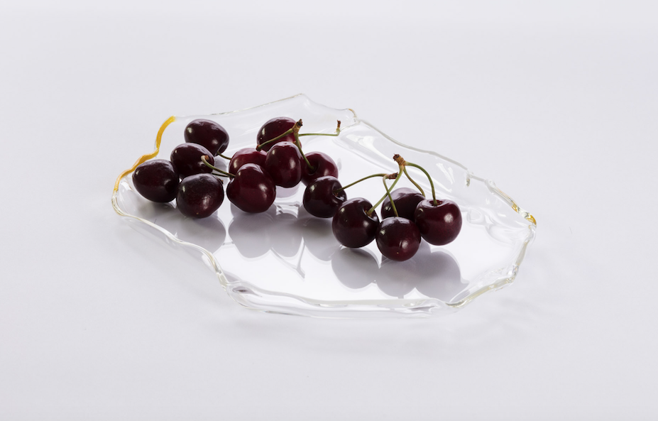 Image of Glass Platter with Yellow & White Edge