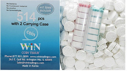 Image of Coin Tissues | 514 Bulk Pack with 2 Carrying Cases | Compressed Towels
