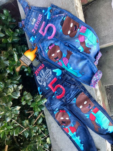 Image of Melanin Rugrats Toddler Overalls -