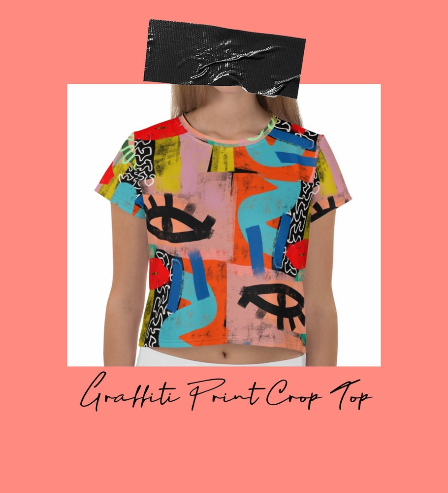 Image of Graffiti Print Crop Top