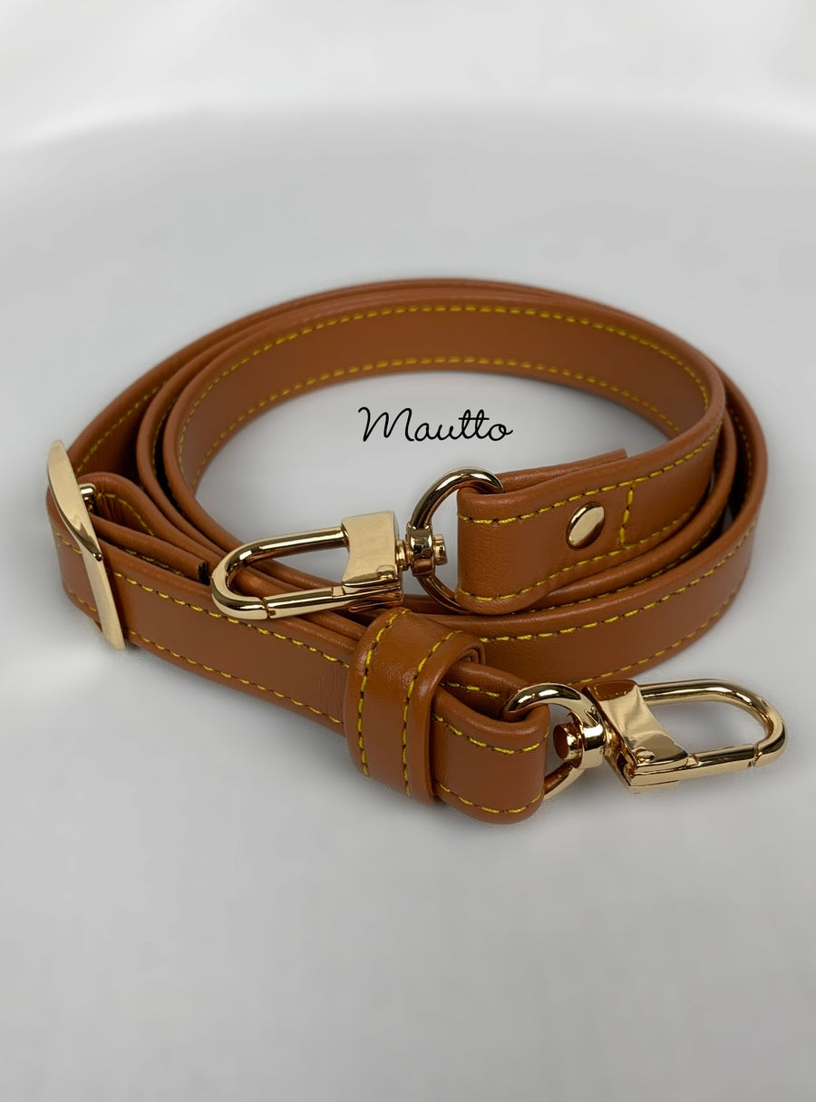 "Image of Dark Tan Leather Strap with Yellow Stitching for Louis Vuitton, Coach & More - .75"" Standard Width"
