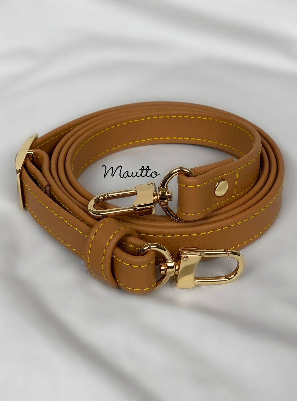 "Image of Tan Leather Strap with Yellow Stitching for Louis Vuitton (LV), Coach & More - .75"" Standard Width"