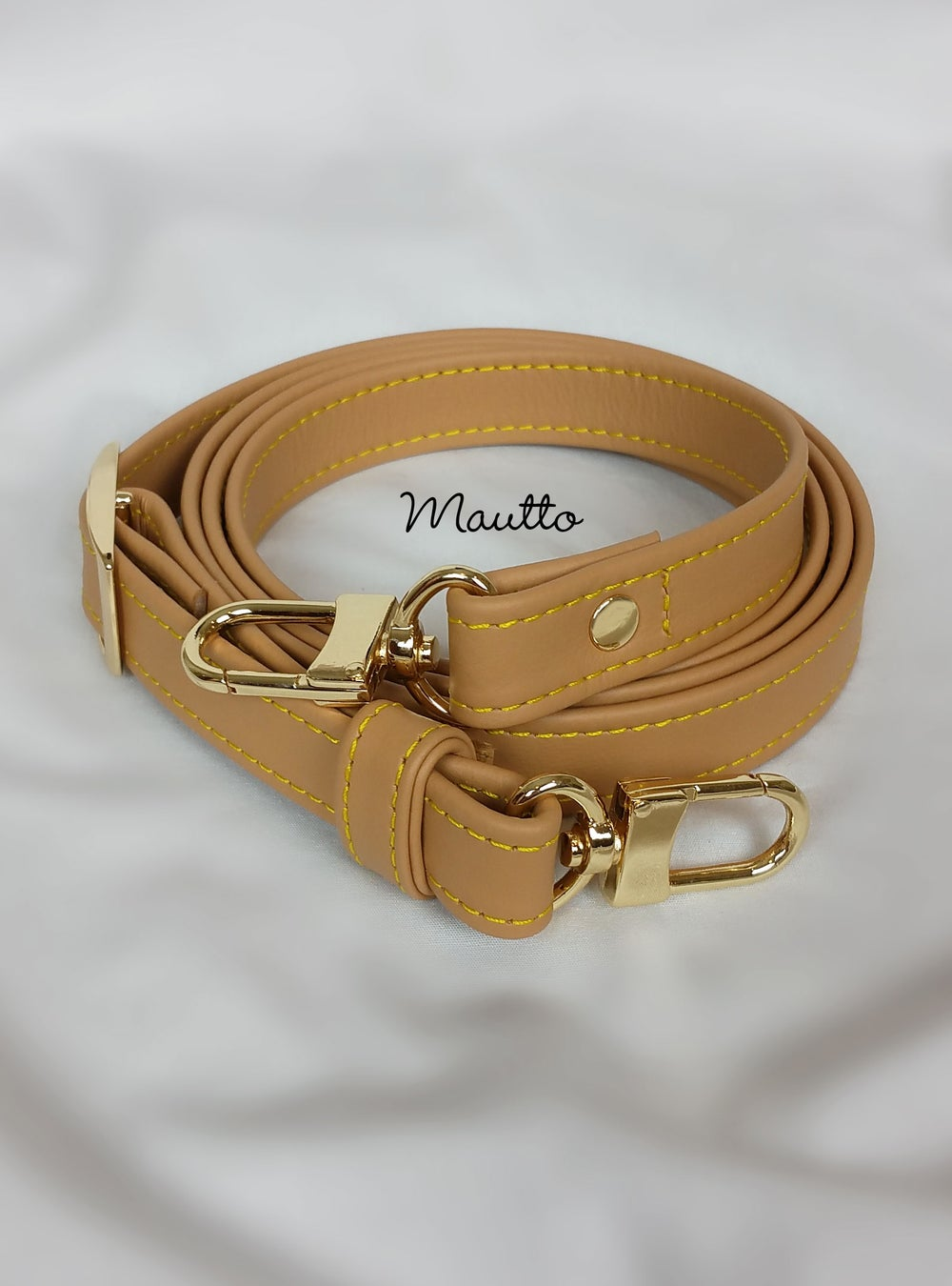 "Image of Light Tan Leather Strap with Yellow Stitching for Louis Vuitton (LV), Coach & More - .75"" Wide"