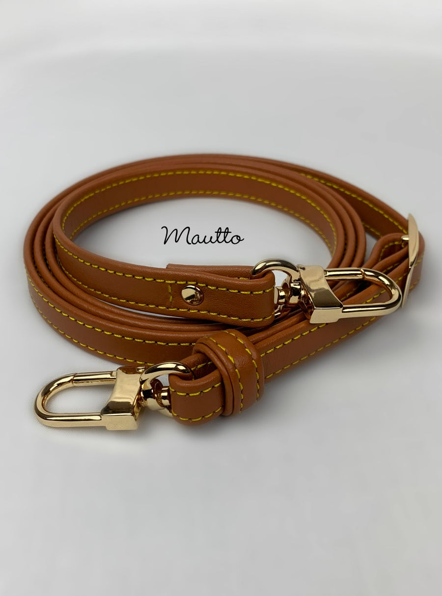 "Image of Dark Tan Leather Strap with Yellow Stitching for Louis Vuitton (LV), Coach & More - .5"" Petite Width"