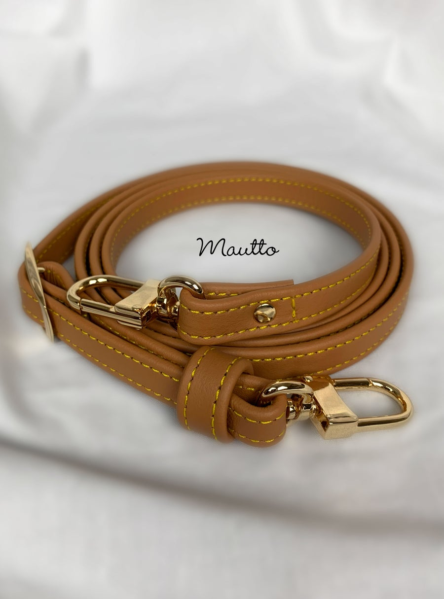 "Image of Tan Leather Strap with Yellow Stitching for Louis Vuitton (LV), Coach & More - .5"" Petite Width"