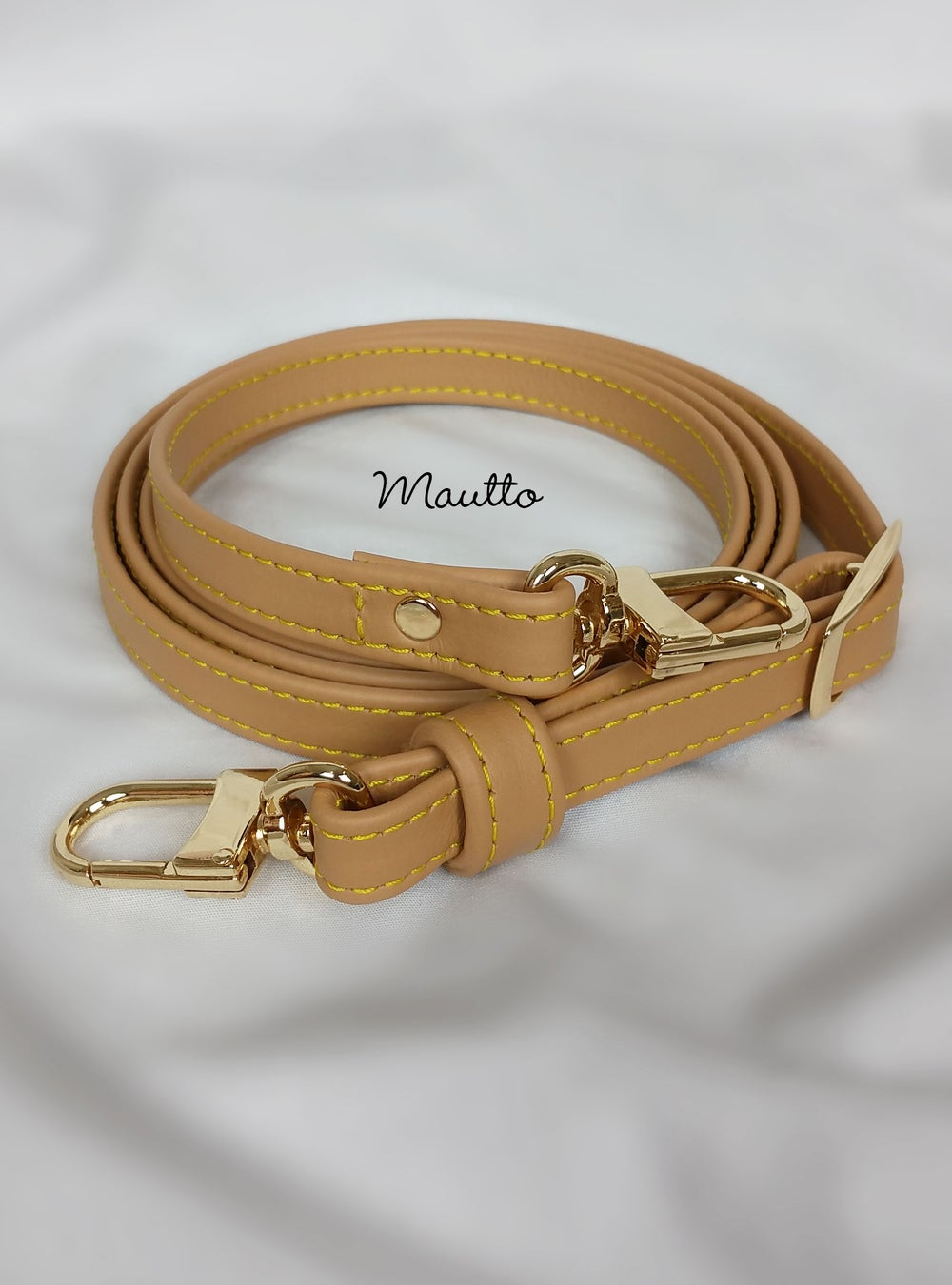 "Image of Light Tan Leather Strap with Yellow Stitching for Louis Vuitton (LV), Coach, More - .5"" Petite Width"