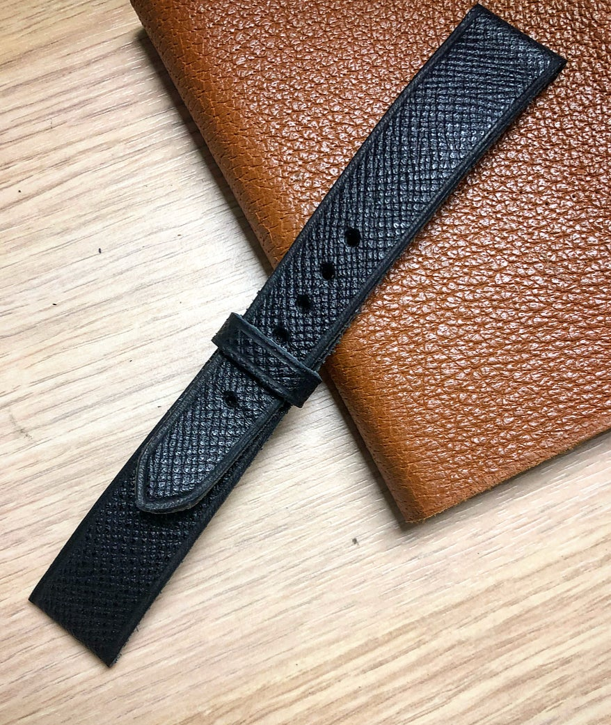 Image of Black Grained calfskin classic watch-strap