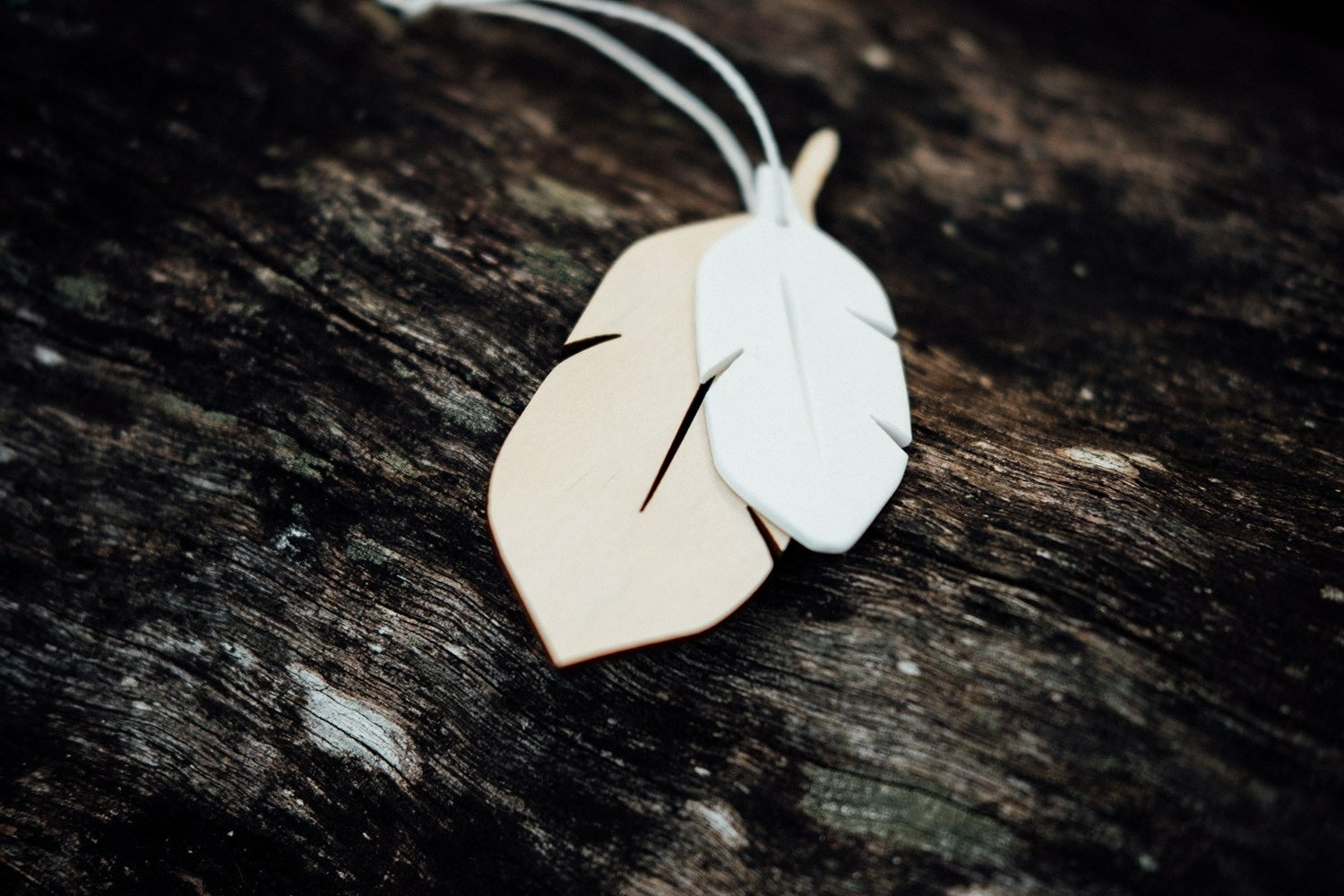 Image of TIMBER FEATHER + PORCELAIN FEATHER ORNAMENT