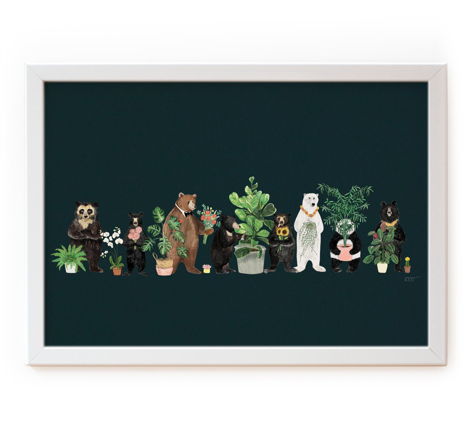 Image of Bears and Plants on Green