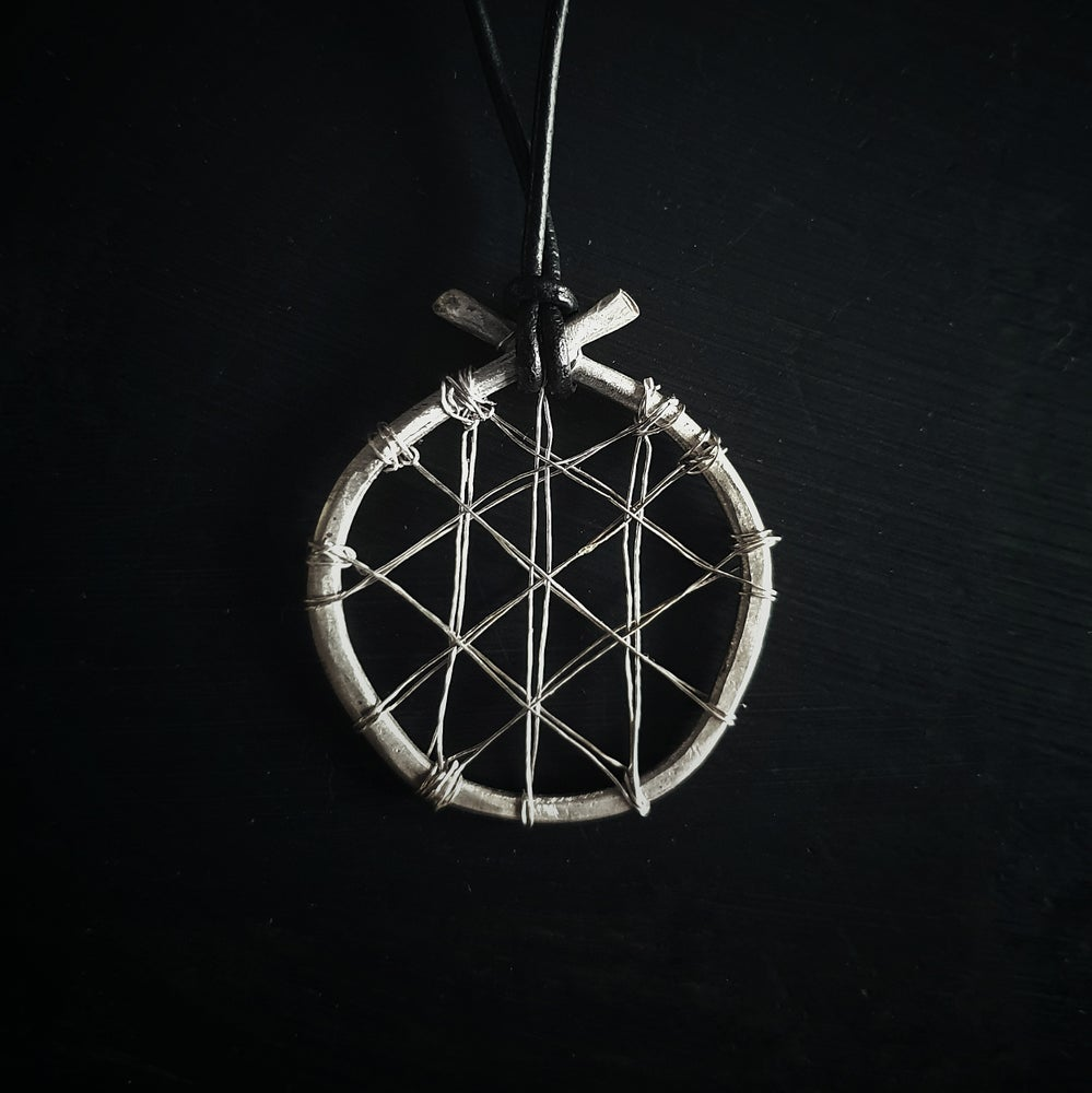 "Image of ""WEB OF WYRD"" sterling silver necklace pendant"