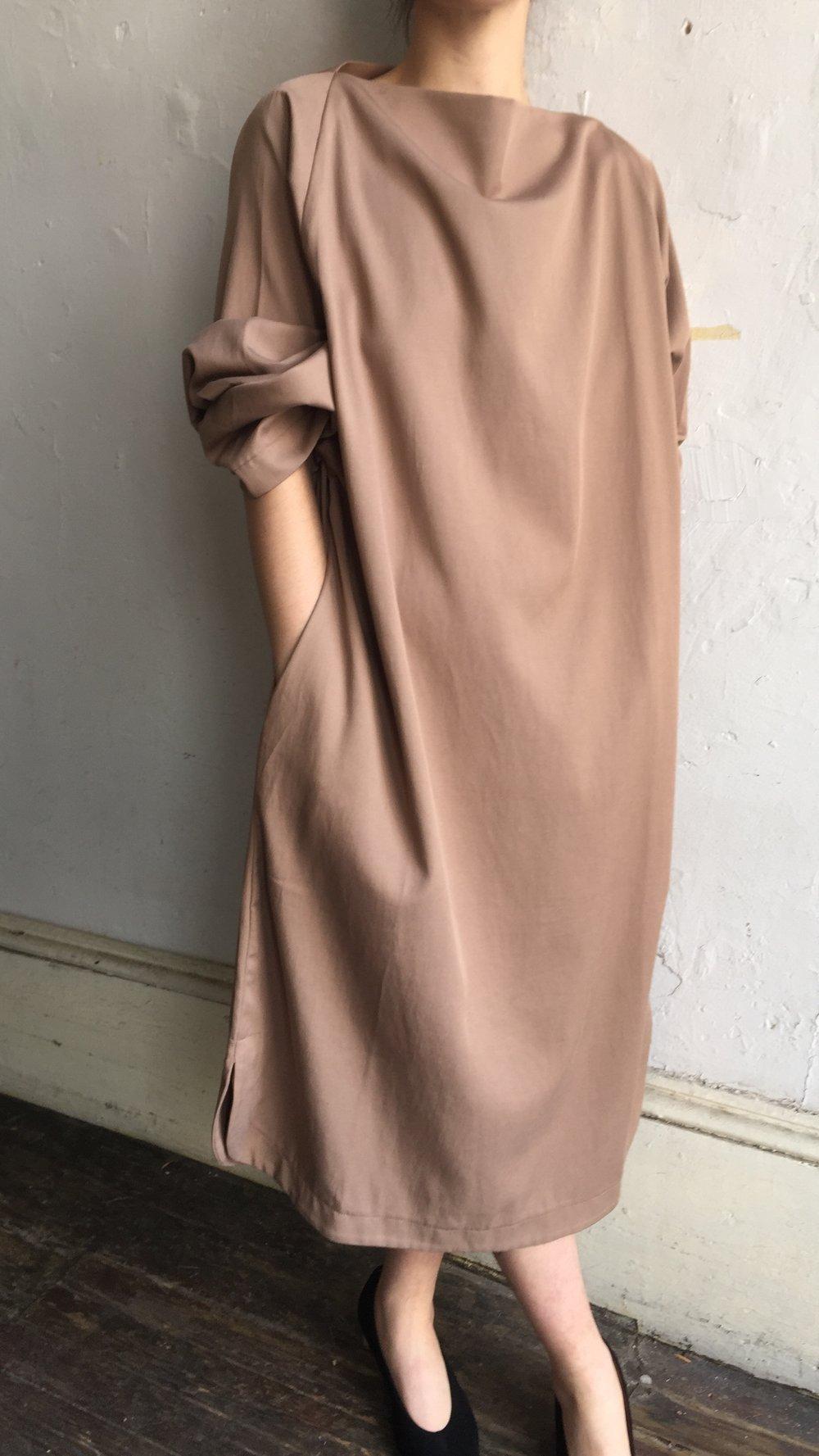 Image of Black Crane Folded Neck Dress