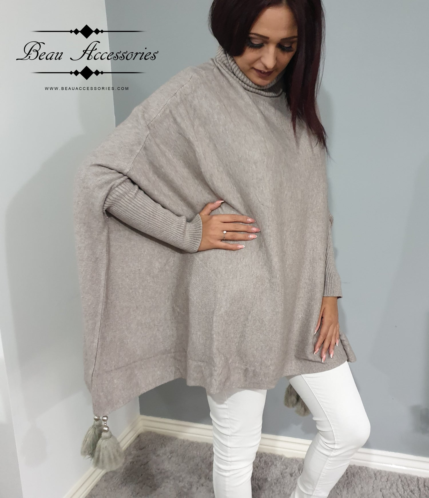 Image of High Roll Neck Poncho Jumper
