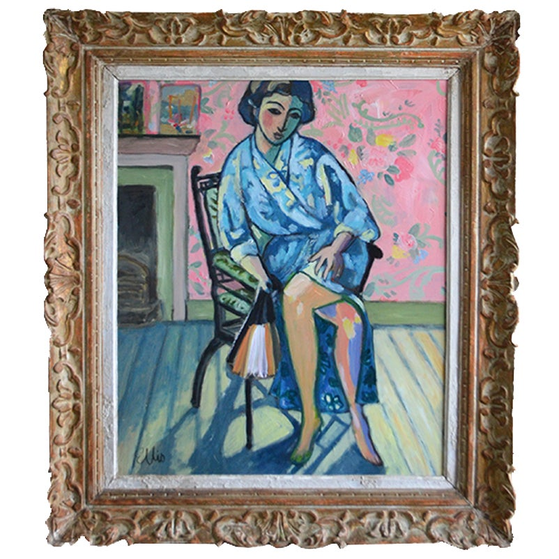 Image of Large Contemporary Painting, 'Madame Espère au Kimono,' Poppy Ellis