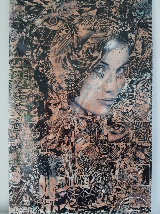 "Image of PREFAB77 ""I YOUNG MAIDEN"" - UNIQUE ORIGINAL ON WOOD - 70CM X 100CM"