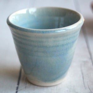 Image of Blue Crackle Match Striker Cup, Handcrafted Stoneware Shot Glass, Made in USA