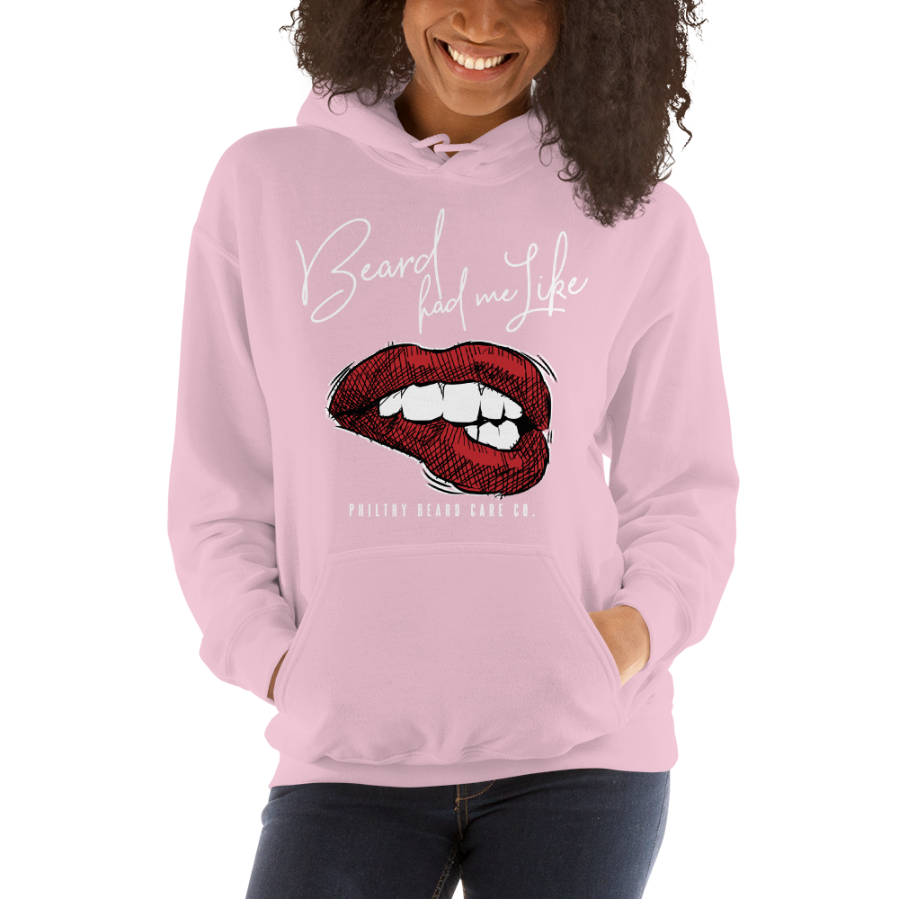 "Image of ""Beard Had Me Like..."" Pink Pullover Hoodie"