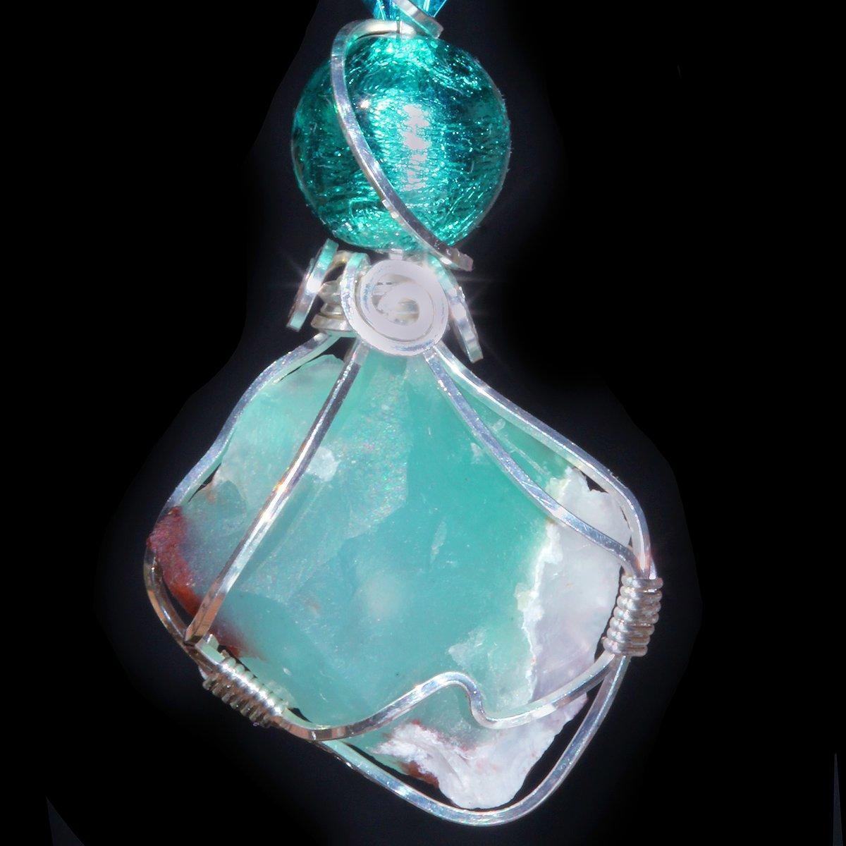 Aquaprase Blue Green Chalcedony Handmade Pendant