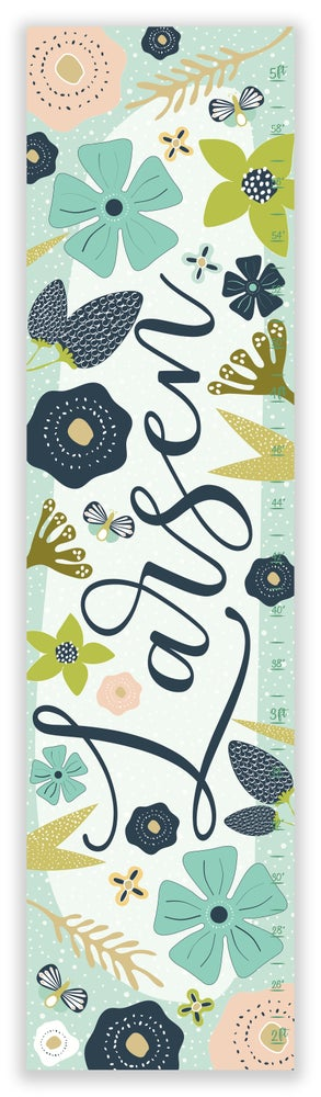 Image of Personalized Calligraphy Canvas Growth Chart - Navy and Blush Pink Flowers