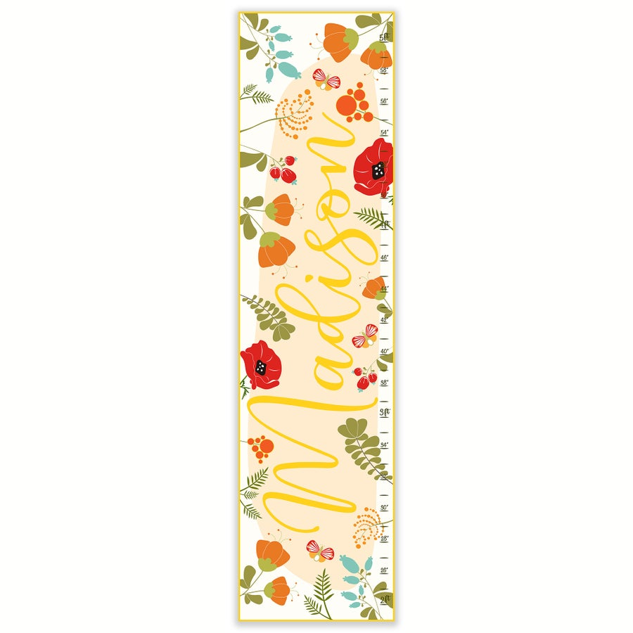 Image of Personalized Calligraphy Canvas Growth Chart - Orange Red and Yellow Flowers