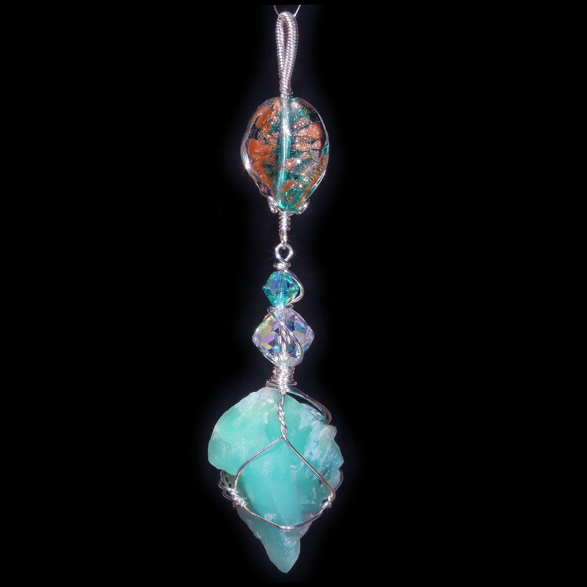Large Aquaprase Handmade Pendant with Antique Venetian Glass Bead