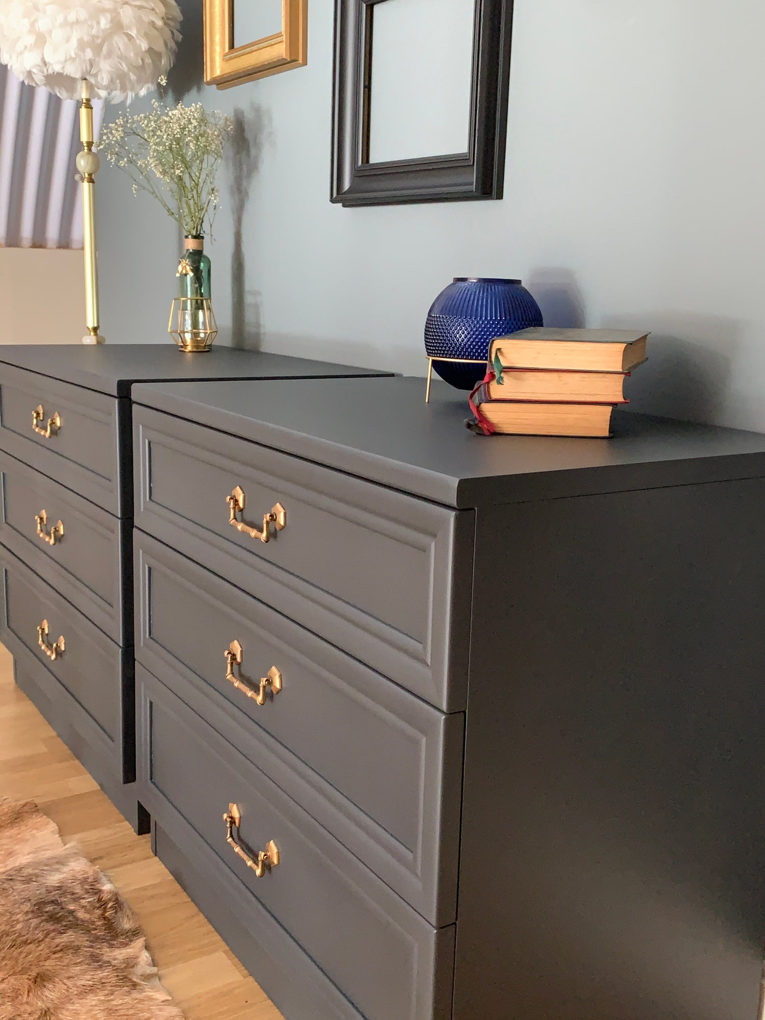 Image of Dark grey G plan chest of drawers/ oversized bedsides