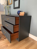 Image 3 of Dark grey G plan chest of drawers/ oversized bedsides