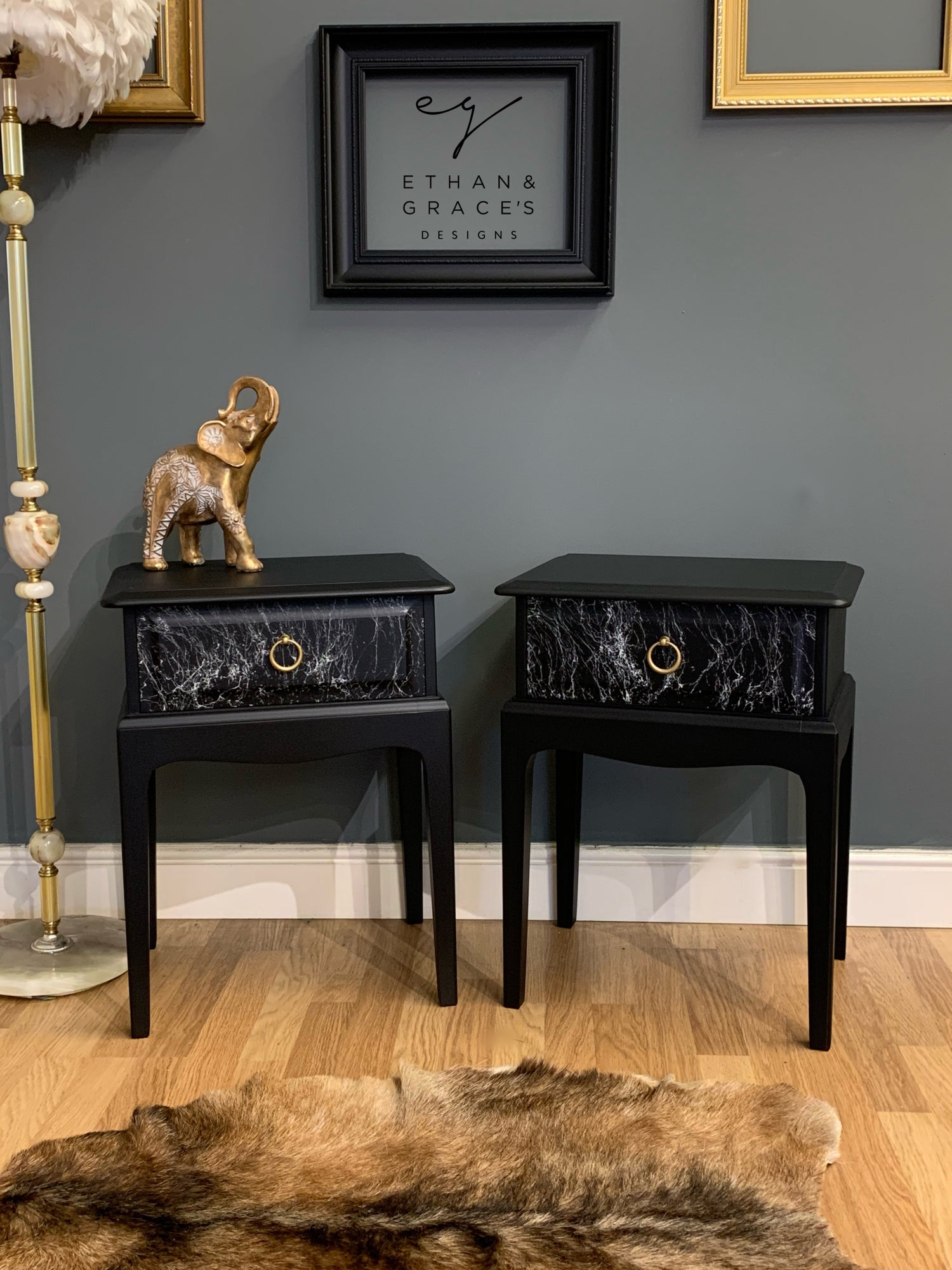Image of Stag bedside/side tables black gold & marble.
