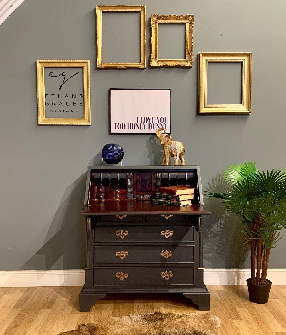 Image of Stunning dark grey and gold mahogany bureau desk